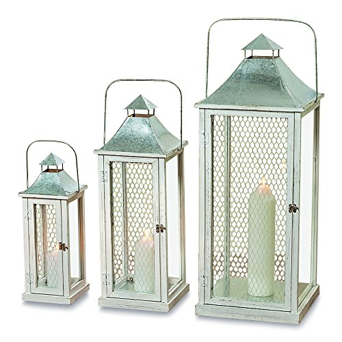 3' Small Pillar Candle (The Farmer's Market Tall Chicken Wire Candle Lanterns, Set of 3, White Washed Wood, Distressed Shabby Finish, Galvanized Metal, 3 Ft, 2 Ft 4, and 1 1/2 Ft High, By Whole House Worlds)
