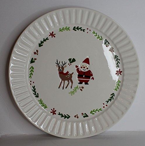Tag Ceramic Stoneware Circle Round Serving Platter Plate Embossed Christmas Mistletoe Reindeer Santa (Round Platter Santa)