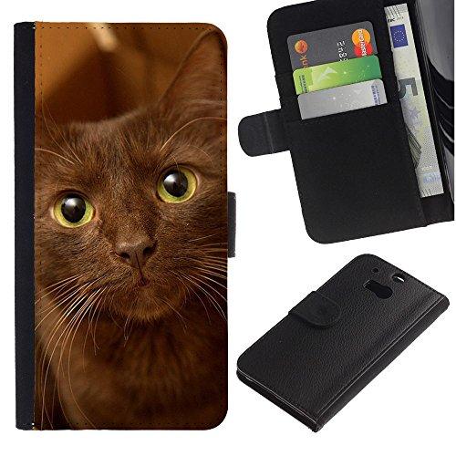 EuroCase - HTC One M8 - havana brown cat green eyes - Cuero PU Delgado caso cubierta Shell Armor Funda Case Cover