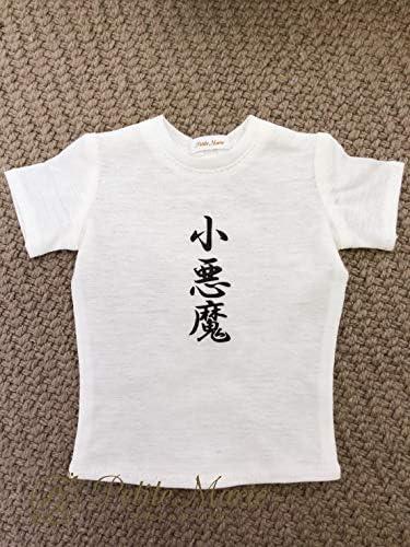 Petite Marie 【プティットマリエ】1/3 人形用 ドール用 オールシーズン おもしろ Tシャツ 白T 文字入り 半袖【小悪魔】シルケット天竺 60cmドール(DD SD対応)
