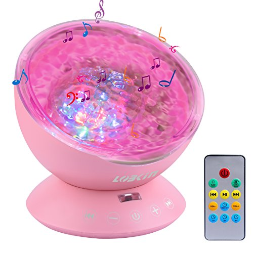 Lobkin LED Night Light Ocean Waves Projector with Remote Control, 12 & 7 Color LED Projector with Mini Music Player Incorporated for the living room & bedroom