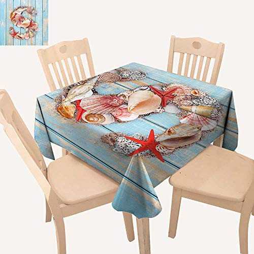 haommhome Letter S Picnic Cloth Various Seashells Scallops Starfishes on Wooden Planks Nautical Waterproof Table Cloth W 36