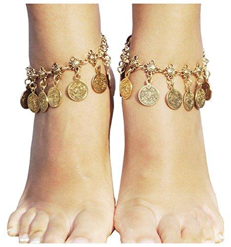 Vintage Coin Ankle Bracelet Tassel Gypsy Festival Beach Bohemian Anklet, Gold (Jewelry Sandals)