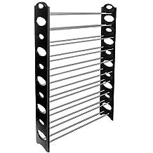 OxGord 50-Pair Shoe Rack Storage Organizer, 10-Tier Portable Wardrobe Closet Bench Tower - Stackable, Adjustable Shelf - Strong & Sturdy Space Saver Wont Weaken or Collapse - Black