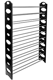 OxGord 50-Pair Shoe Rack Storage Organizer, 10-Tier Portable Wardrobe Closet Bench Tower Stackable, Adjustable Shelf - Strong & Sturdy Space Saver Wont Weaken or Collapse - Black