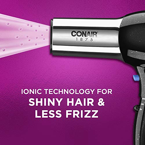 Conair 1875 Watt Full Size Pro Hair Dryer with Ionic Conditioning, Black/Chrome