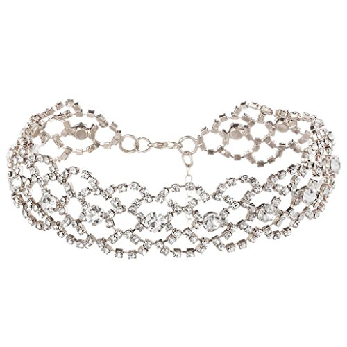 Lucoo New Women Punk Style Alloy Crystal Rhinestone Golden Chain Necklace Choker (Silver)