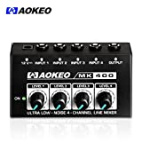 Aokeo Super Compact 4-Channel Mixer with DC 12V Power Adapter for Sound Reinforcement, Studio, Stage, Choir, Features Ultra Low Noise, Premium Sonic Quality (MK-400)