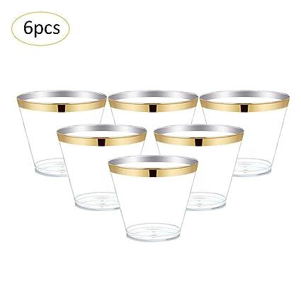 iShine 6pcs 9oz (270ml) Copa de vino de plástico Zumo Taza camping plástico Vasos