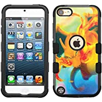 for iPod Touch 5/6, Hard+Rubber Dual Layer Hybrid Heavy-Duty Rugged Armor Cover Case - Pokemon Charizard #Fire