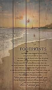 Footprints in the Sand Beach Scene 24 x 14 Wood Pallet Design Wall Art Sign Plaque