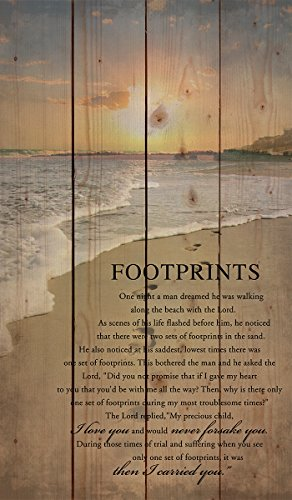 P. Graham Dunn Footprints in The Sand Beach Scene 24 x 14 Wood Pallet Design Wall Art Sign Plaque