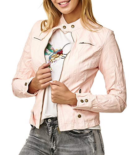 Noname Donna Giacca In Pelle Corta Biker Transition Jacket Sintetica D2515 Rosa
