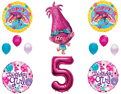 POPPY TROLLS 5th Birthday Girl Happy Party Balloons Decoration Supplies Movie
