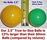"(Up to 40% Extra Discount) My Balls Pack of 100 2.5"" 65mm Ball Pit Balls in 5 Bright Colors - Crush-proof Air-Filled Soft Plastic, Phthalate & BPA Free"