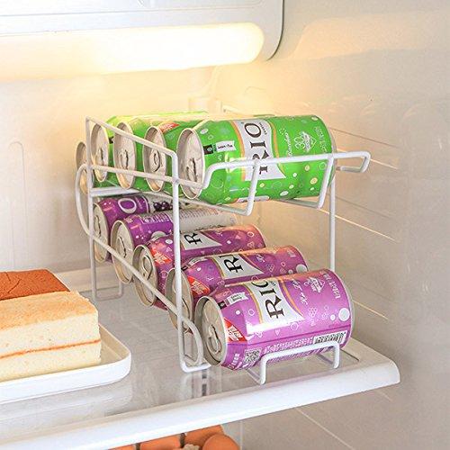 SODIAL iron Beverage Beer Rack Storage Organizer Holder can tank Kitchen Finishing Refrigerator Fridge Pantry Space Saver Tools