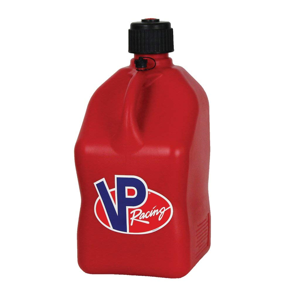 4 Pack VP 5 Gallon Square Blue Racing Utility Jugs with 4 Deluxe Filler Hoses