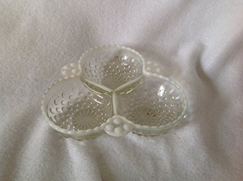 Anchor Hocking Moonstone Glass Three Compartment Relish Dish