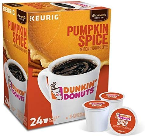 Dunkin Donuts K-Cups Pumpkin Spice - Box of 24 Kcups for use in Keurig Coffee Brewers