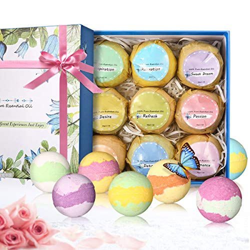 Janolia Bath Bombs, 9 Pcs Natural and Organic Spa Kit for Skin Care and Relaxation, Ideal Gift Set for Mom, Wife, Girlfriend