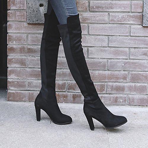 Aiyoumei Kvinna Mode Slip-on Tjocka Klackar Stretch Stövlar Höst Vinter Över Knäet Långa Stövlar Svart