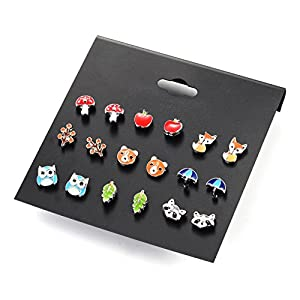 Aganippe 9 Pair Sets Cute Animals Hypoallergenic Nickel-free Stud Earrings Set For Kids Girl