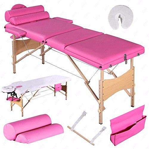 All Goodly 3 Fold 84″ L Portable Massage Table/SPA Bed/Tattoo Bed+2 Bolster + Cradle + Hanger +Free Carry Case (PINK)