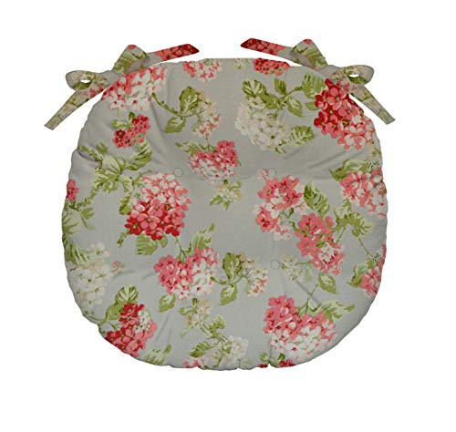 (RSH Décor Indoor Outdoor Tufted Bistro Round Chair Seat Cushions & Ties ~ Available in Single or Pair, 4 Sizes & Various Fabrics (Single(16