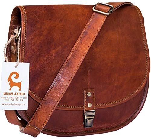 Urban Leather Crossbody Bags for Women Saddle Bag Purse Handbags Gift for Young Women & Teen Girls | Genuine Leather Satchel Shoulder Bags Small Size 26 cms ()