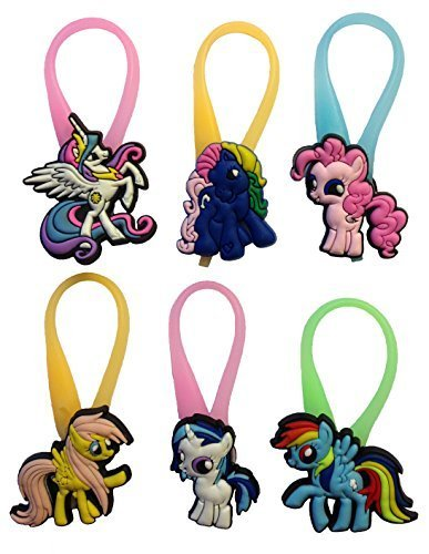 [Little Pony Luminescent Colorful Silicone Snap Lock Zipper Pulls 6 Pcs Set #1 by Atlantis USA] (Disney Tinker Bell Kids Sparkle Shoes)
