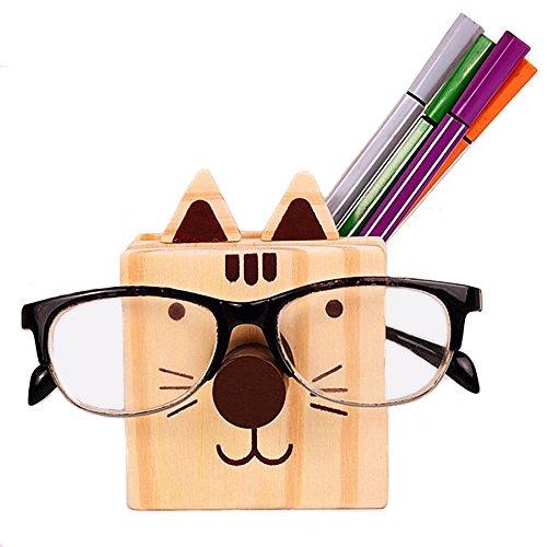 Wooden Cute Cat Pen Holder - Glasses Eyewear Holder - Mobile Phone Rack, Multifunction Desktop Organizer Eyeglass Holder Great Gift