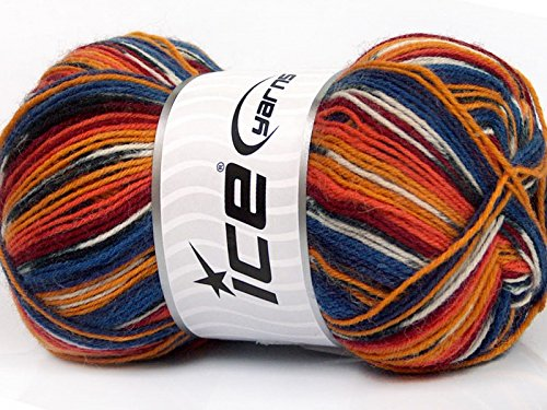 - (1) 100 Gram Super Sock, Blue Orange Burgundy Black Self-Patterning Machine Washable Sock Yarn