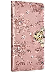 NSSTAR Compatibile con iPhone 6 Plus/6S Plus Funda de Cuero Diamond Flip Wallet Case,360 Grados Full Body Cover Anverso y reverso PU Carcasa de cuero con abeja en relieve con cordón,Oro rosa/