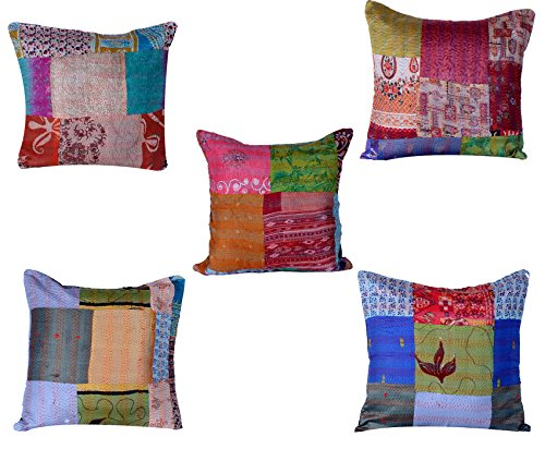 Indistar Set of 5 Throw Pillow Cover | Silk Patchwork Cushion Covers with Traditional Indian Kan ...