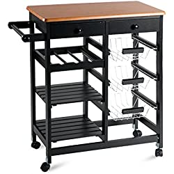 "Merax WF036471BAA 26"" Portable Storage Island Kitchen Trolley Drawers, Microwave Cart, Black"