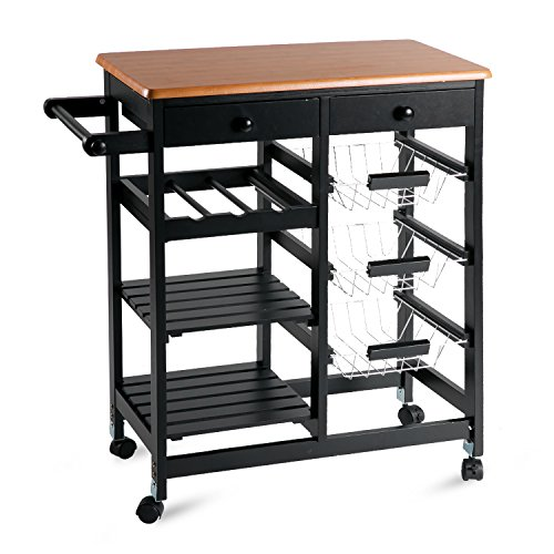 Merax WF036471BAA 26'' Portable Storage Island Kitchen Trolley Drawers, Microwave Cart, Black by Merax