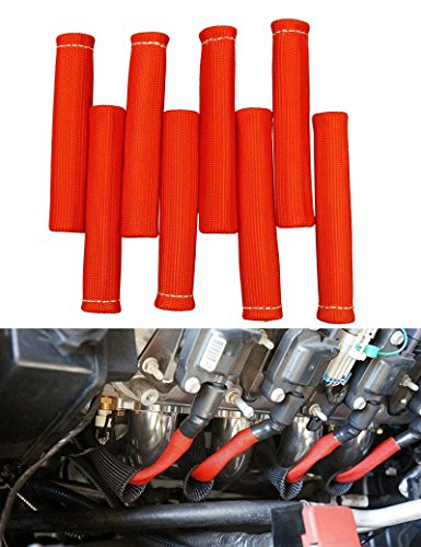 BLACKHORSE-RACING 1200 Degree Spark Plug Wire Boots Heat Shield Protector Sleeve For SBC BBC 350 454 (Pack of 8) ()