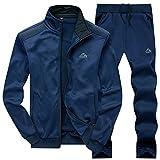 DUNKINBO Mens Athletic Full Zip Fleece Tracksuit Jogging Sweatsuit Activewear (Blue3,M)