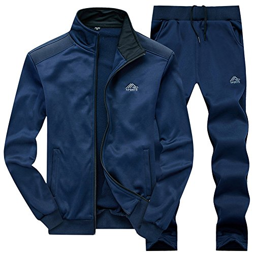 (JINSHI Mens Athletic Full Zip Fleece Tracksuit Jogging Sweatsuit Activewear (Blue3,M))