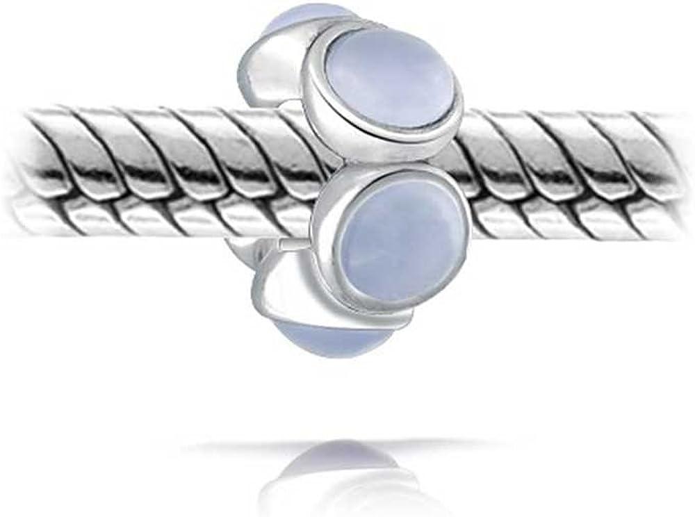 Grey Blue Stabilized Chalcedony Gemstone Spacer Bead Charm For Women Teen 925 Sterling Silver Fits European Bracelet