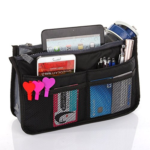 American Trends Expandable Handbags Purse Insert Organizers with Handles (FBA) Black