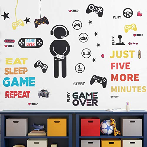 26 Pieces Gamer Wall Sticker Gamer Wall Decals Children Video Game Room Decor Gaming Controller Wall Stickers Removable…
