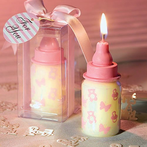 Sweet Homes & Gardens Original Feeding Bottle Birthday Candle Cake Topper Baby Shower Favors with Greeting Card Party Decoration (Pink) from Sweet Homes & Gardens