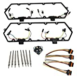 Michigan Motorsports 1994 to 1997 7.3L Diesel Powerstroke Valve Cover Gasket, 8 Glow Plugs, Relay, plus Injector Harness. Fits Ford 7.3L F250 F350 Superduty Econoline