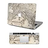 Vati Leaves Removable Vintage World Map Protective Full Cover Vinyl Art Skin Decal Sticker Cover for Apple MacBook Air 13.3