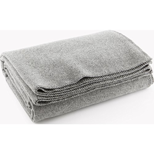 Faribault Pure & Simple Wool Blanket - LT Heather Gray - -