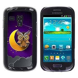 Be Good Phone Accessory // Dura Cáscara cubierta Protectora Caso Carcasa Funda de Protección para Samsung Galaxy S3 MINI NOT REGULAR! I8190 I8190N // Awesome Owl On The Moon