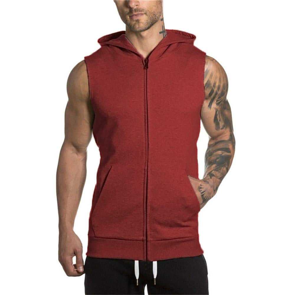 Gym Hoodie Men Bodybuilding Stringer Tank Top Muscle Sleeveless Shirt (XL, red)