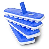 Ice Cube Trays with Lids | Stackable, No Spill, Covered Ice Cube Tray Set with Removable Covers | White & Blue - (Pack of 4) by Bloomingoods