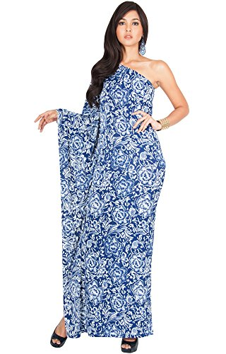 (KOH KOH Petite Womens Long One Off The Shoulder Evening Floral Print Cocktail Spring Summer Floor Length Flowy Elegant Sexy Sundress Gown Gowns Maxi Dress Dresses, Navy Blue S 4-6 )